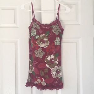 Magenta tank top with flower pattern